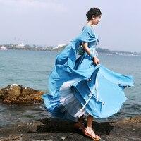 Бесплатная доставка 2018 Новые весенние и летние модные кружевные вышитые шифоновые платья для женщин макси бисерные светло голубые платья