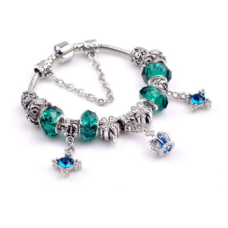 Hot beads bracelet diy crystal crown bangle silver jewelry for Jewelry stores in bear delaware