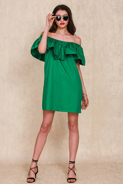 0f93d63a8658 2017 Green Ruffles slash neck women dress Summer style off shoulder sexy  dresses vestidos White tube beach dress cotton