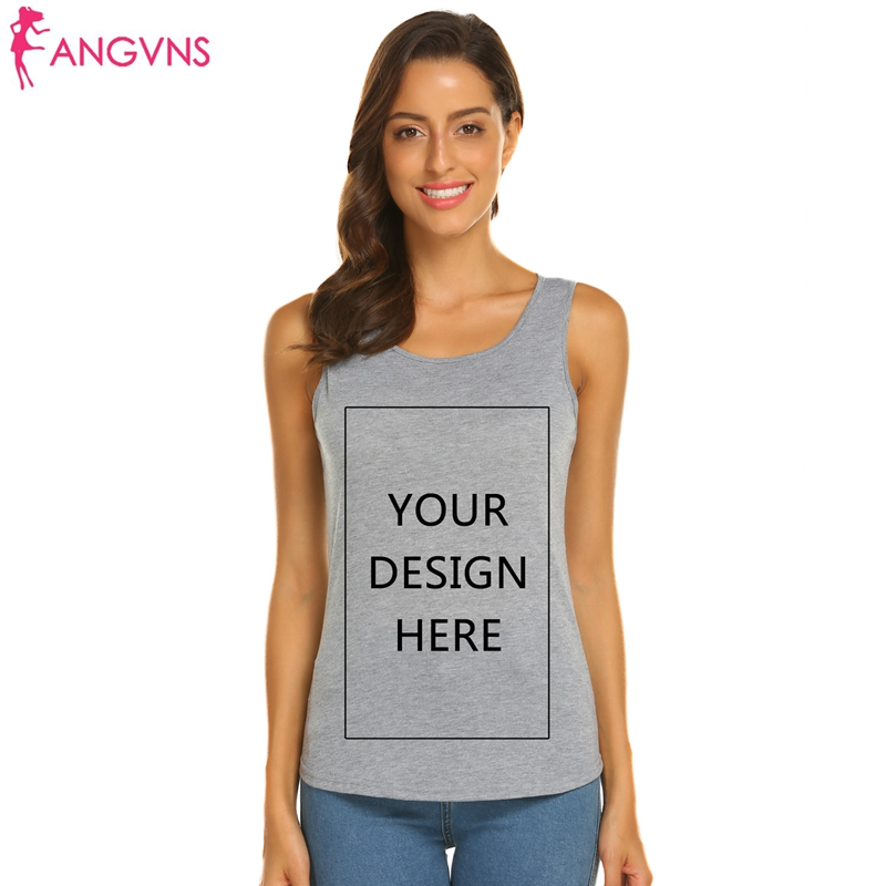 ANGVNS Vests Fashion Persionalized Custom Tanks Top Shirt Custom Logo Photo Text Printed DIY Sleeveless O-Neck Tees Top
