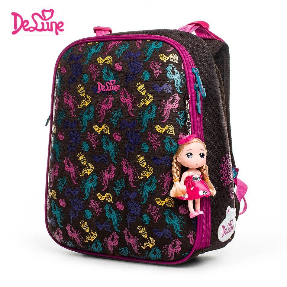 DELUNE Brand 2018 New Orthopedic Children School Bags Grade 1-3 Kids Student Girls Cartoon Waterproof School Backpacks Book Bags
