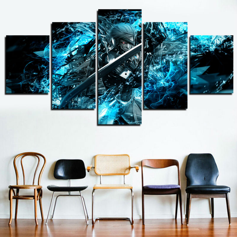 5 Panel Canvas Painting Pictures Metal Gear Solid Home