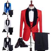 New Arrival Wedding Business Men Brand Suits Printing Black/Red/Blue Slim Fit Male Suit Tuxedos Formal Blazers Groom Prom Suit