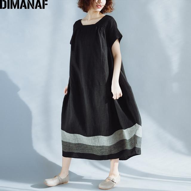 DIMANAF Women Summer Dress Plus Size Linen Vintage Black Female Vestidos Casual Clothing Loose Oversize 2018 Sundress Long Dress 3