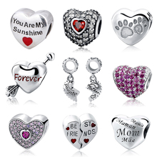 Fit DIY Charm pandora Bracelets Authentic 925 Sterling Silver Love Hearts Shape Beads With Colour & Clear CZ Jewelry Making Gift(China)