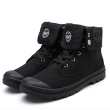 Fashion Leisure Mannen Martin Laarzen Enkel Ronde Neus Lage Punk Motorlaarzen Naaien Effen Canvas Lace up Outdoor Schoenen(China)