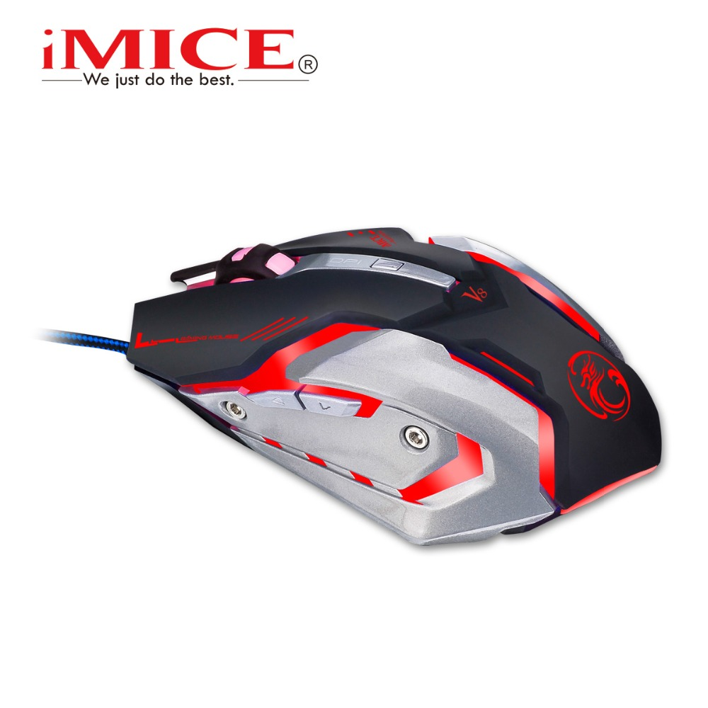 iMice V8 Professional USB Wired game Gaming Mouse Computer Mouse Macro 4000DPI Led Optical 6 Buttons
