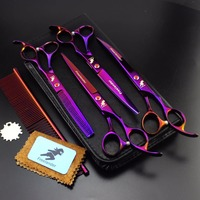 7.0 inch Pet Scissors Dog Grooming Scissors Set Straight & 2 Curved & Thinning Shears Animals Hair Cutting Tools Kit