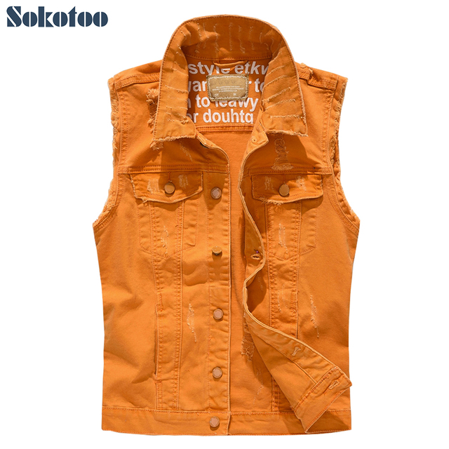 Sokotoo Men's fancy orange color slim fit ripped stretch denim vest Fringe sleeveless holes distressed waistcoat Tank top
