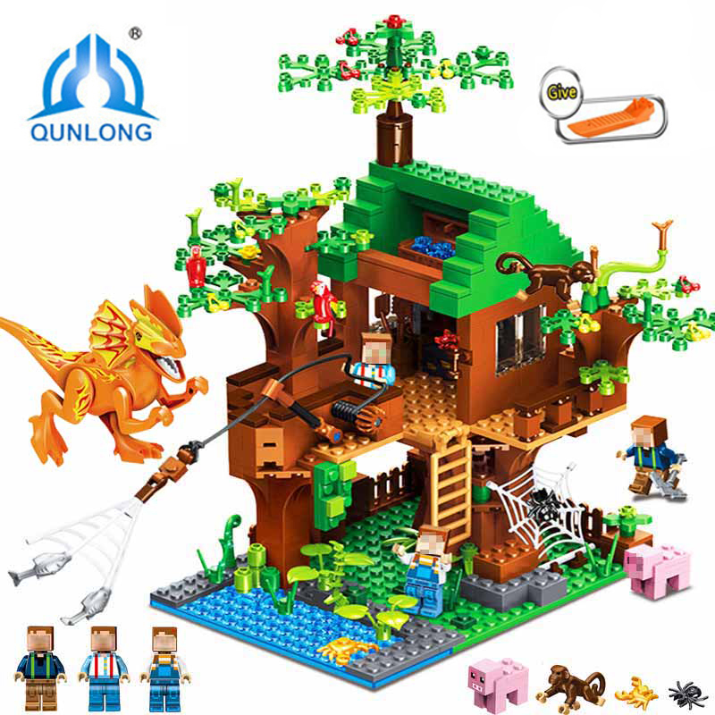 My World Jungle Tree House Dinosaurs Building Blocks DIY Forest Kits Bricks Toys For Kids Gift Compatible LegoING Minecraft City lepin my world 406pcs classic tree house legoingly minecraft model figures building blocks bricks kids toys for children gift