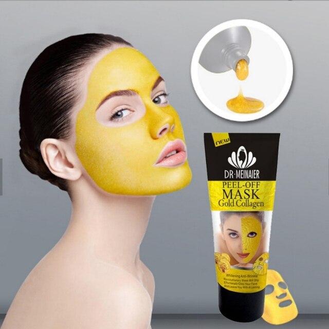 24 K oro colágeno pelar máscara de cara arrancar blanqueamiento de elevación reafirmante piel Anti arrugas Anti envejecimiento máscara Facial cabeza negra importa