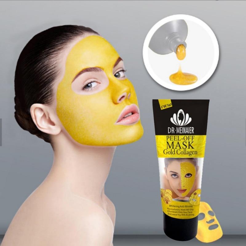 24 k זהב קולגן לקלף מסכת פנים לקרוע הלבנת Firming עור נגד קמטים נגד הזדקנות פנים מסכה שחור ראש טיפול