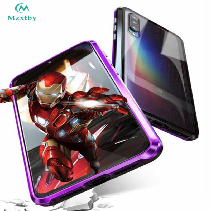 Mzxtby 360 Luxury Full Magnetic Front+back Double Side Metal Glass Case for Xiaomi Mi 9 Se Redmi Note 7 K20 Pro Glass Cover Case