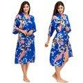 Jewelblue Women Bathrobes Japanese Yukata Kimono Satin Silk Vintage Robe Sleepwear Plus Size S-XXXL 15 Colors Nightgowns 010418