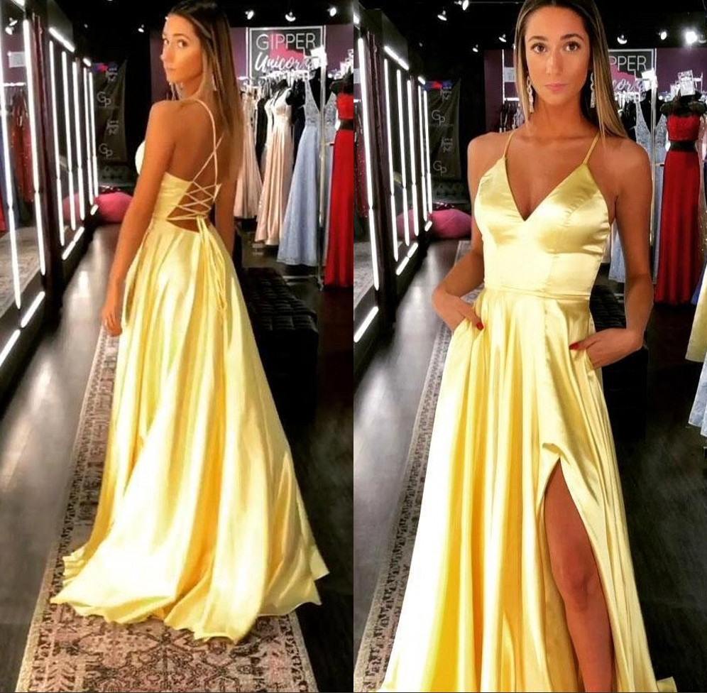 Sexy Slit V Neck Satin Yellow Evening Dresses Long 2019 A Line Cris-cross Back Prom Dresses Formal Party Gown Robe de soiree