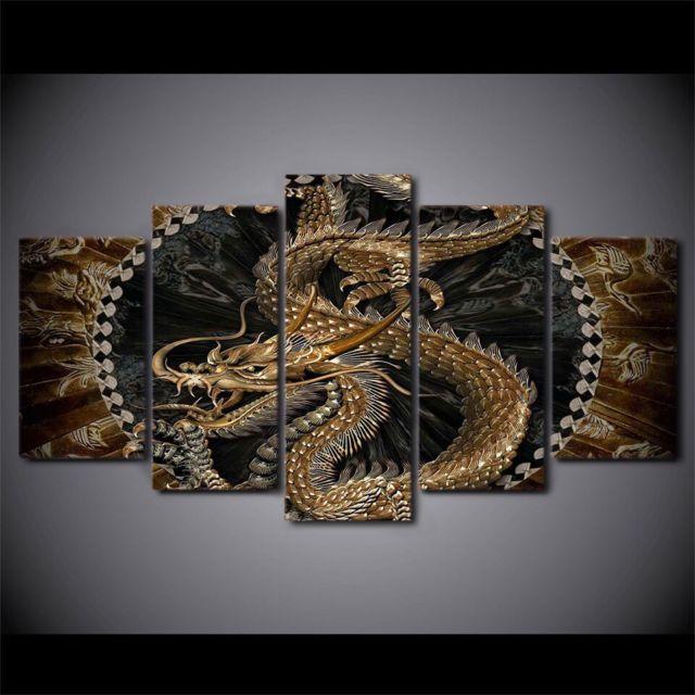 Grand cadre Art abstrait intérieur décor énorme taille toile décoration 5 pièces dragon chinois