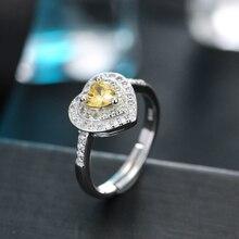 Romantic Zircon Heart Ring Jewelry 925 Silver Open Rings for Women Wedding Jewellery Acessories Lover Gift