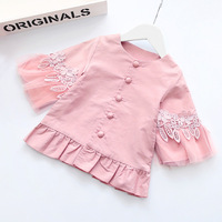 2017 New Style Autumn Spring Girls Cotton Jacket Cute Baby Girl Long Sleeve Coat Lovely Princess