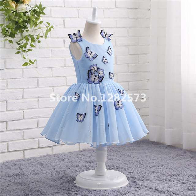 9e8125afa8553 In Stock Light Blue Tulle Flower Girl Dresses 1-12Y First Holy Communion  Dress for Girls Butterfly Ball Gown vestido daminha