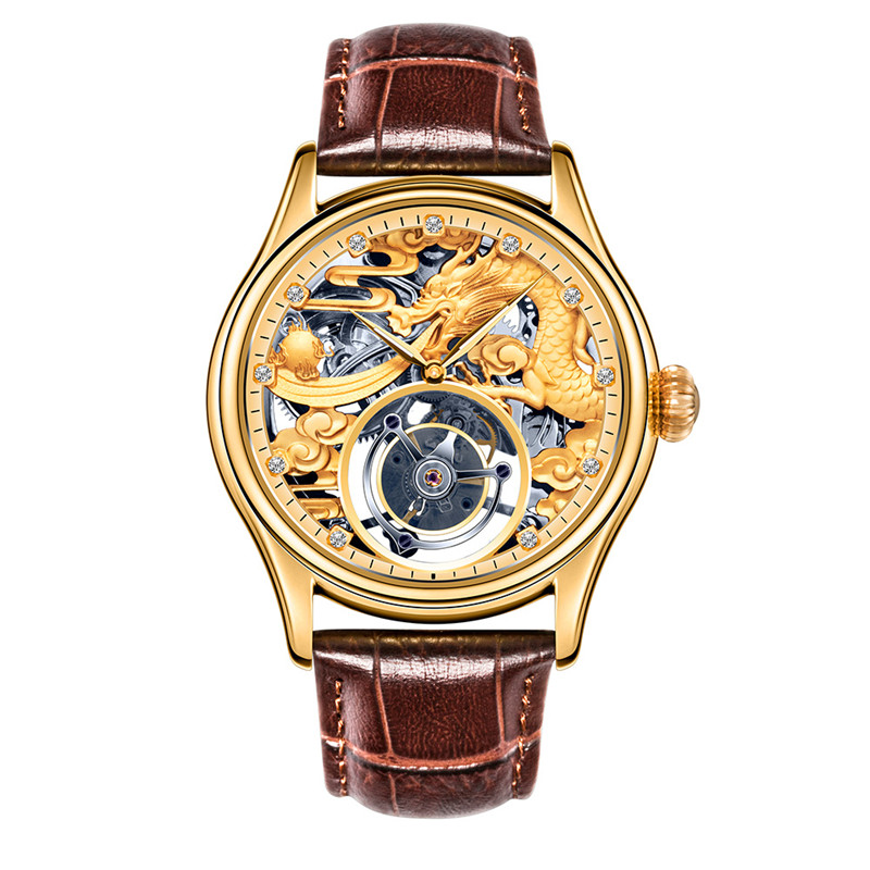 Original Tourbillon Mechanical Watches Men Watch Mechanical Hand Wind Hollow Movement Genuine Leather Mens Watch As Gift Box original tourbillon men watch star sky style high quality tourbillon hollow movement 24k vacuum plating men s mechanical watches