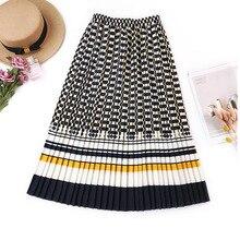 FATIKA Falda plisada para mujer, falda Faldas de cintura alta, elegante, de calle, 2019