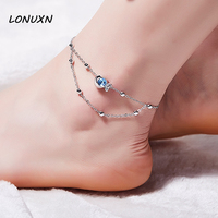 21cm+5cm High quality beads high quality Anklet 925 silver retro Japan simple fashion fish female student Blue Crystal Cartoon