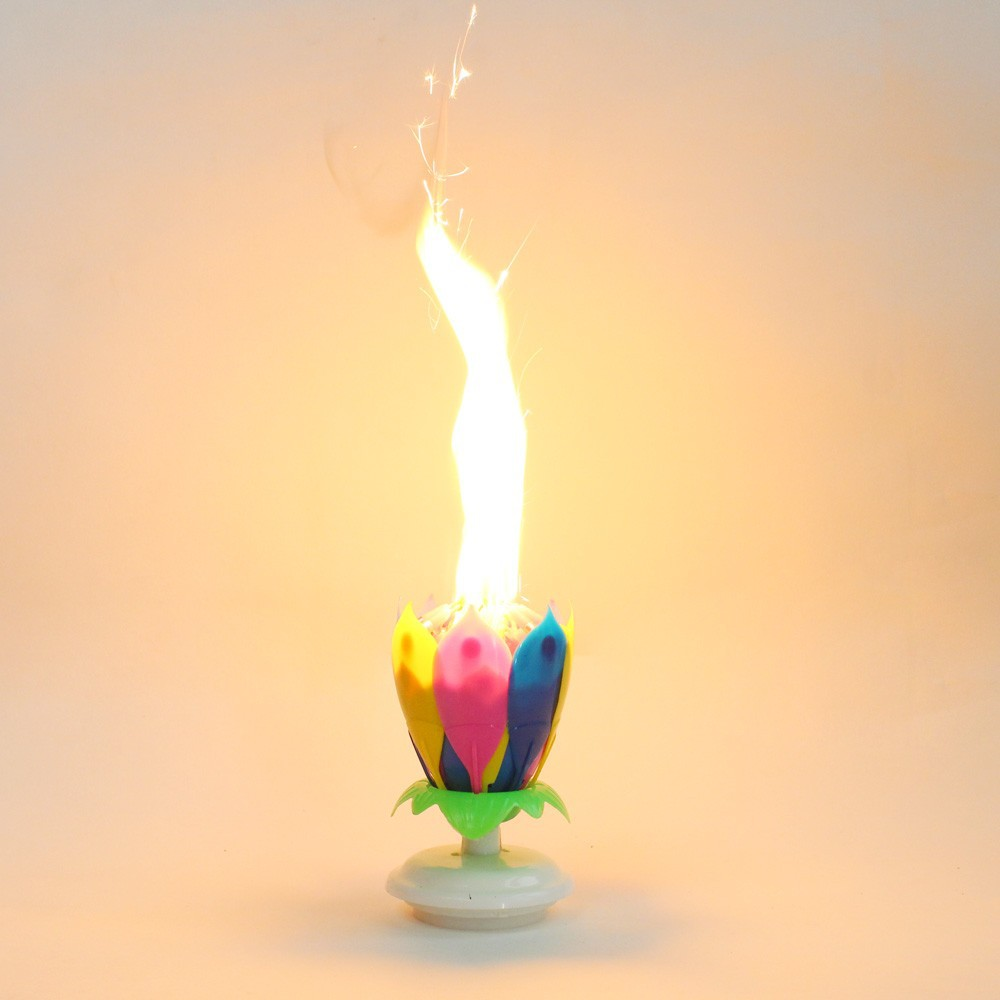 Music Birthday Candle Firework Musical Lotus Rotating Happy Flower Colorful Rainbow Double Layer 14 Petal In Candles From Home Garden On