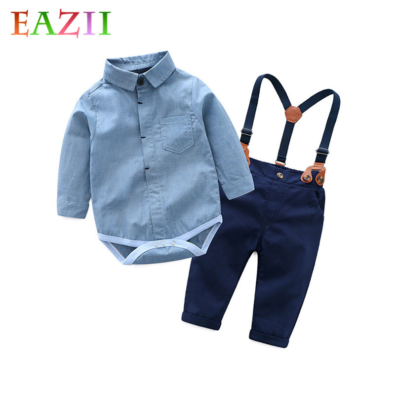 EAZII 2pcs/pack Toddler Outfits Clothes Baby Boy Clothing Sets 2019 Infant Newborn Baby Boy Clothes Romper Shirts+Overalls
