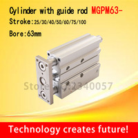 SMC Type MGPM63Thin cylinder with rod MGPM63 25/30/40/50/75/100 Three axis three bar Pneumatic components MGPM