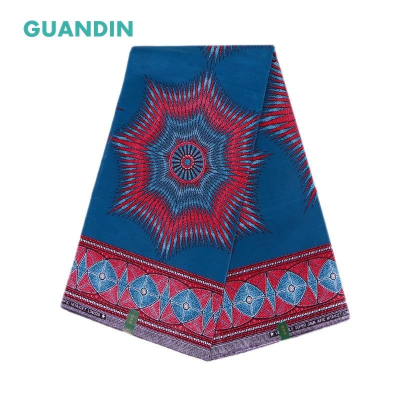 GUANDIN Wax Fabric 2018 African Fabric For Dress Java Wax Print Cotton Cloth Textile 6yard Dashiki Fabric For Party Dress Sheet