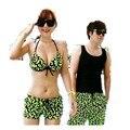 Новые 2016 пары ансамбль женщин маленькая грудь вместе бикини из двух частей флуоресцентные зеленые пляжные шорты
