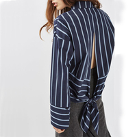 Women Elegant Striped Shirts Back Split Bow Tie Blouse Turn Down Collar Long Sleeve Loose Louse