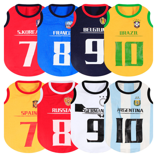 97637d45c Summer Sports Pet Dog Cat Shirt Pet Vest Clothing T shirts Football Soccer  Jersey Clothes For Small Dogs Chihuahua Pug Shirts