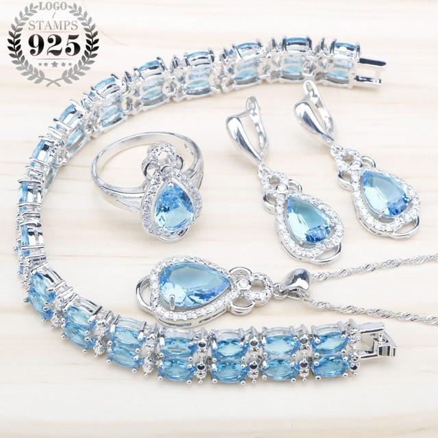 Blue Zircon 925 Sterling Silver Wedding Jewelry Sets Women Bridal Bracelets Neck