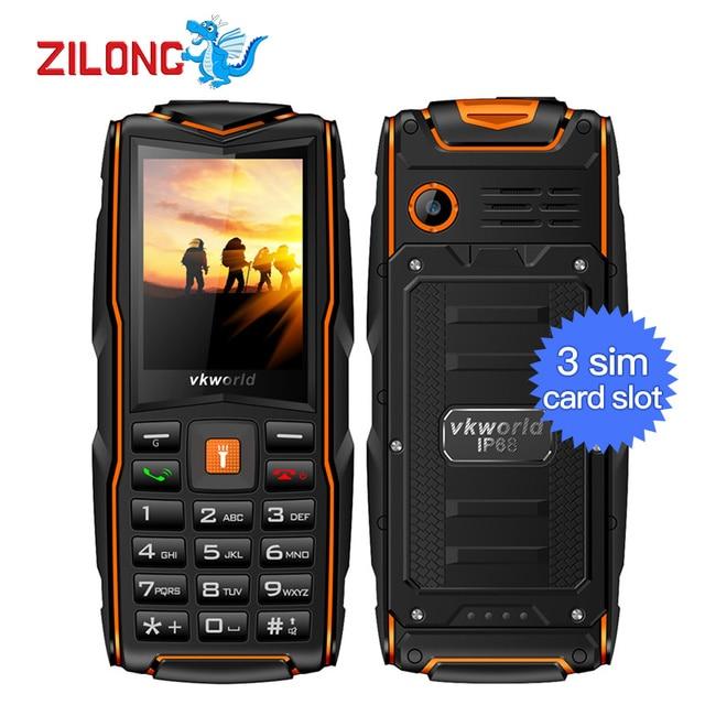 Original VKWorld New Stone V3 IP68 Waterproof 2.4 inch Mobile Phone GSM FM Russian Keyboard 3 SIM Cards Slot 3000mAh Cellphone
