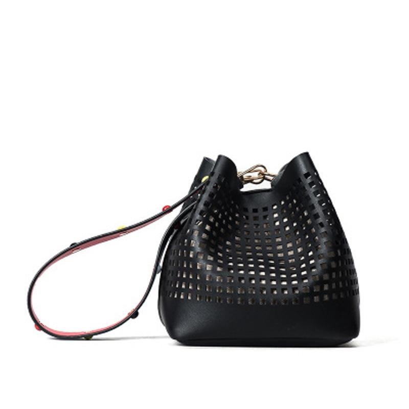 SWDF 2018 summer fashion designer hollow women buckets bags beautifully decorated shoulder strap Mini Women Messenger Bags