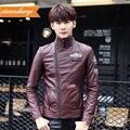 2016 Autumn winter fashion men's brand leather jacket slim personality oblique zipper short design labeling outerwear / L-3XL