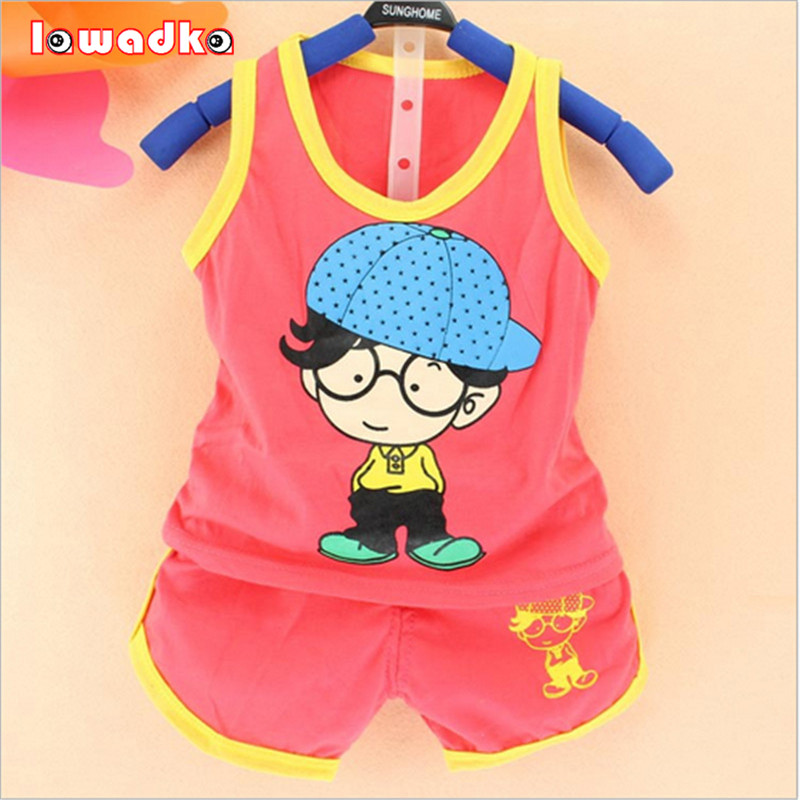 2016 Newborn Baby Clothing Sets Boy/girl Cotton Vest + Shorts 2pcs Kids Clothes Sets Cartoon Suit Summ