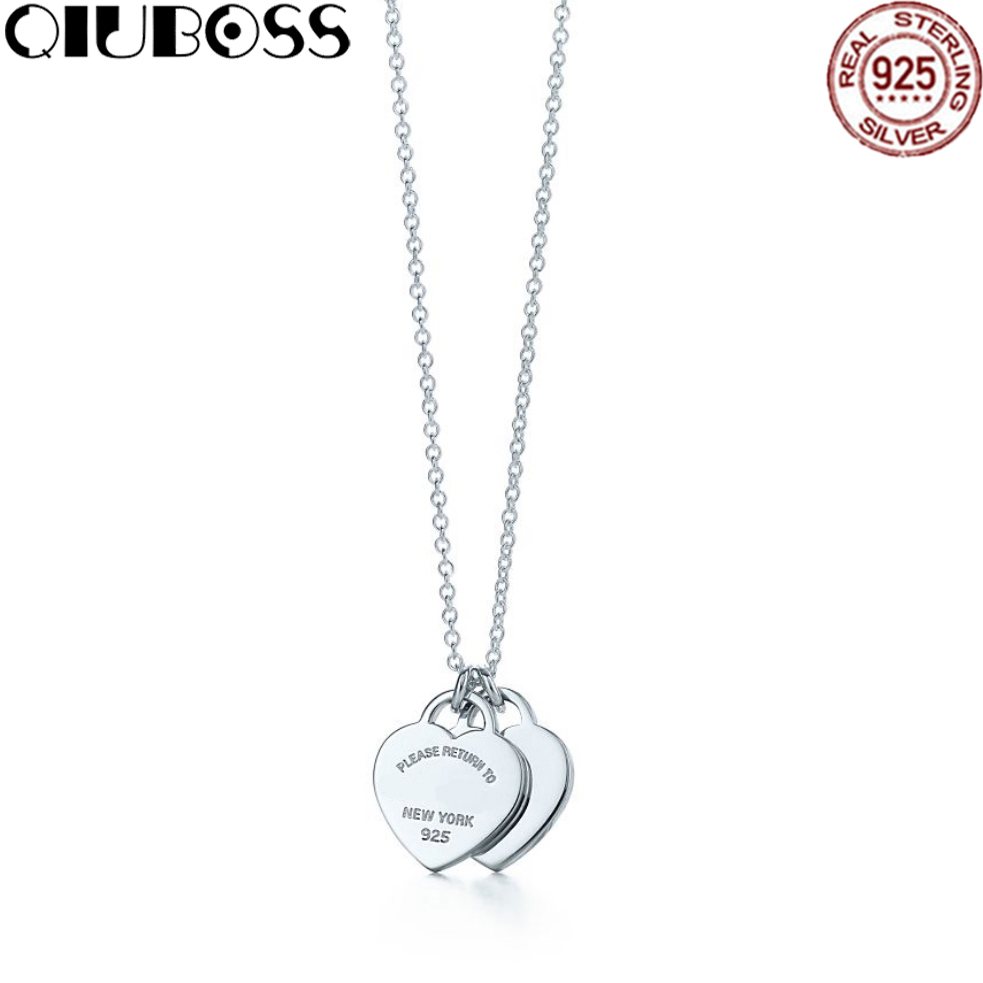 QIUBOSS TIFF 925 Sterling Silver Romantic Double Pendant Heart-Shaped Lock Necklace Elegant Clavicle Chain heart shaped decor star chain bag