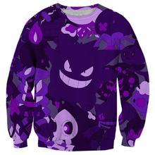 2017 NEW Fashion men women tops cool 3D print Funny purple Gengar Ghost  Chibi sweatshirt enchantress d0445a03173e6
