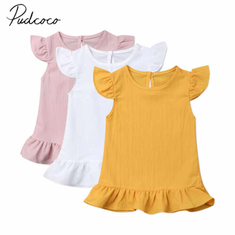 2019 Baby Summer Clothing 1-6T Infant Kid Baby Girl Solid Mini Dress Solid Princess Gown Fly Sleeve Ruffle Party Chiffon Dresses