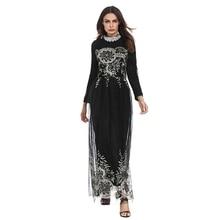 lace chiffon patchwork embroidery Abaya Dubai muslim women style party  dresses Arab Evening gown 2018 Female 6dfa64dcf06b