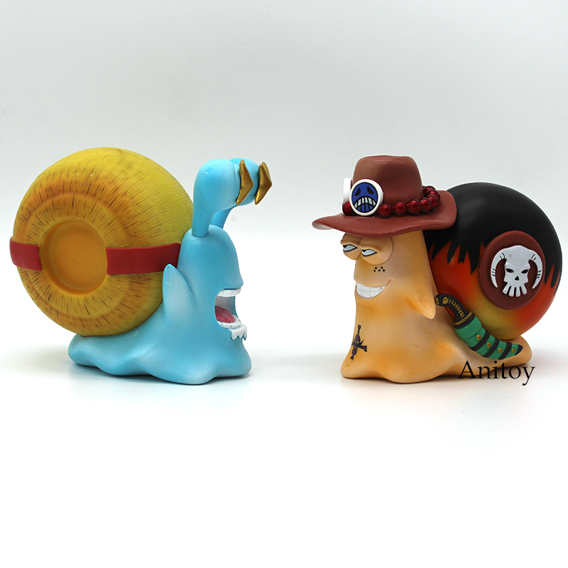 Anime One Piece Luffy & Ace Den Den Mushi Telephone PVC Figures Toys 2pcs/set 11cm new arrival free shipping one piece watch strawhat luffy skull emboss watch anime embossment watches anime toys watches