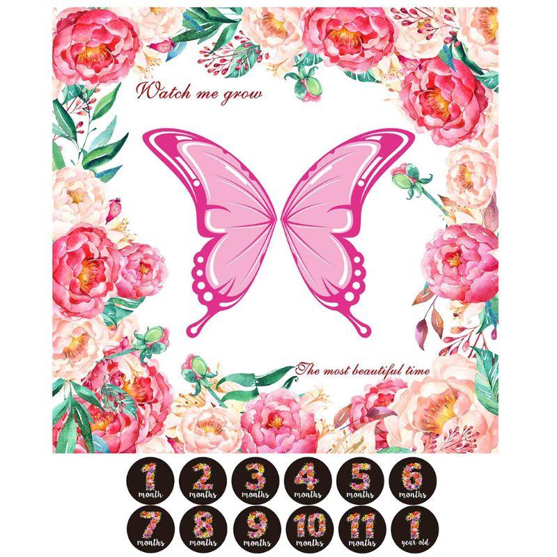 1 Set Baby Milestone Blanket Monthly Sticker Photography Prop Background Blankets Boy Girl Photo Accessories