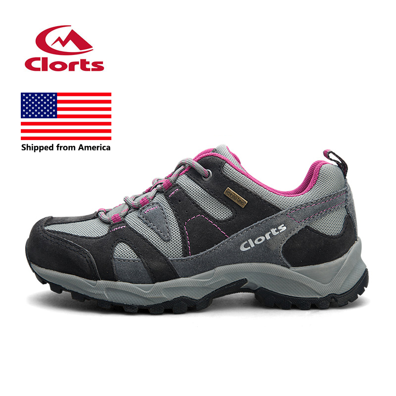 Shipped From USA Women Trekking Shoes Clorts Leather Breathable Hiking Shoes Suede Waterproof Athletic Sneakers HKL-828 clorts women trekking shoes outdoor hiking lace up shoes waterproof suede hiking shoes female breathable climbing shoes hkl 828d