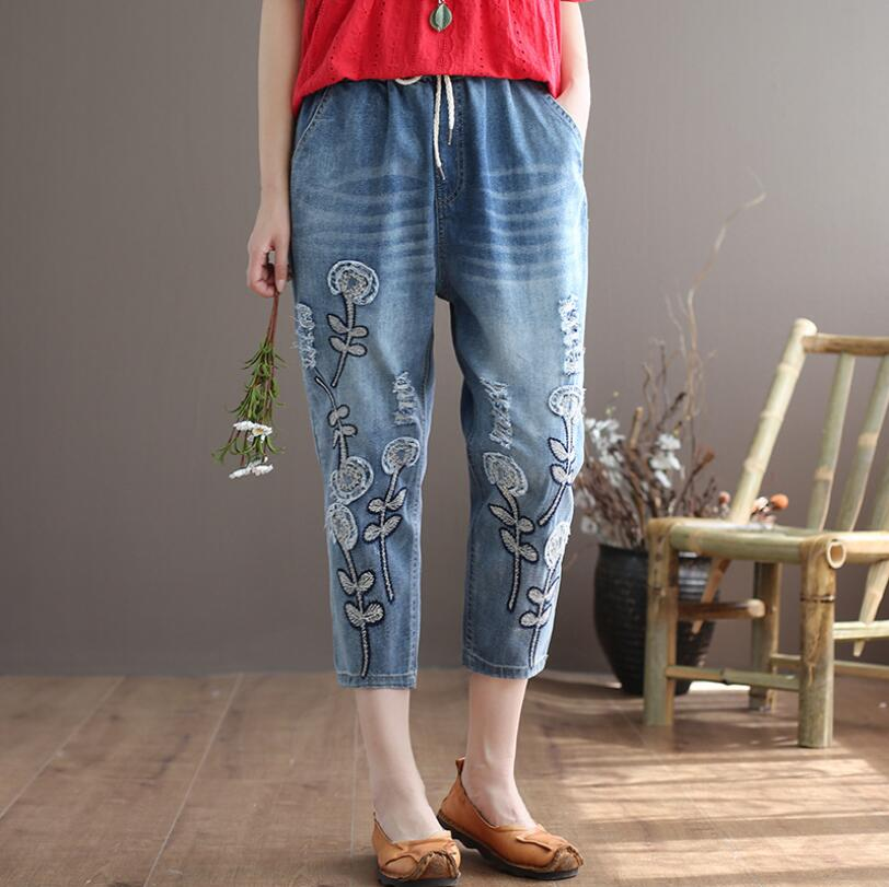 jeans woman spring summer new Patch embroidery Calf-Length Pants women hole Elastic waist Denim Harem pants p1254