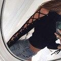 European style Fashion O-Neck Black Bandage T-shirt Women Tops Autumn Hollow Out Long Sleeve -shirt Lady Girls Sexy Crop Top
