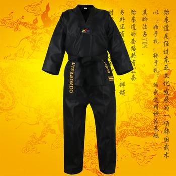 Niños adultos hombres mujeres negro taekwondo uniforme de dobok wtf algodón tae kwon do conjunto de ropa TKD conjuntos de ropa cinturón de karate trajes dobok