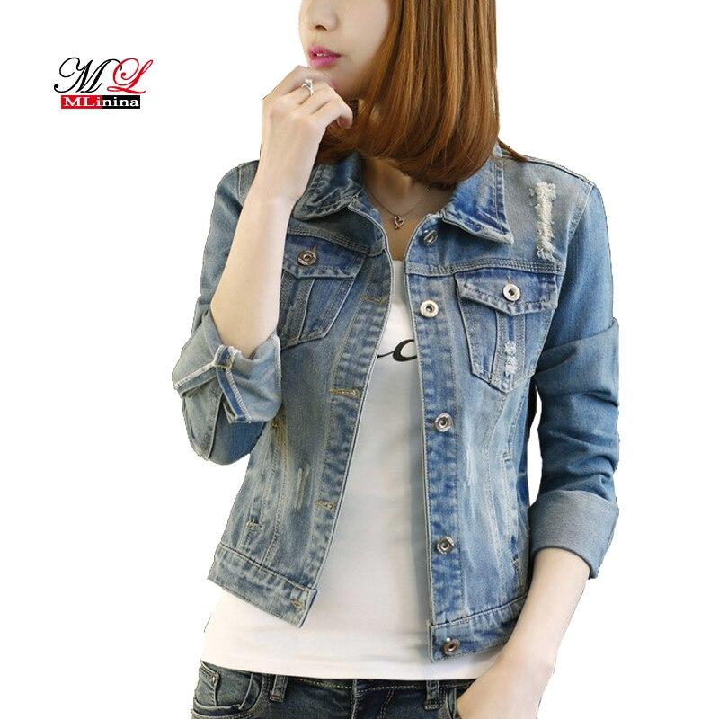Mlinina Denim Jacket Women 2018 Plus Size 5xl Long Sleeve Short
