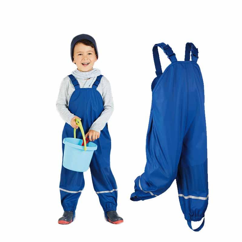 Mioigee 2018 niños pantalones niños azul cuero de la PU de los niños impermeables poncho impermeable a prueba de viento al aire libre respirable punch Pantalones